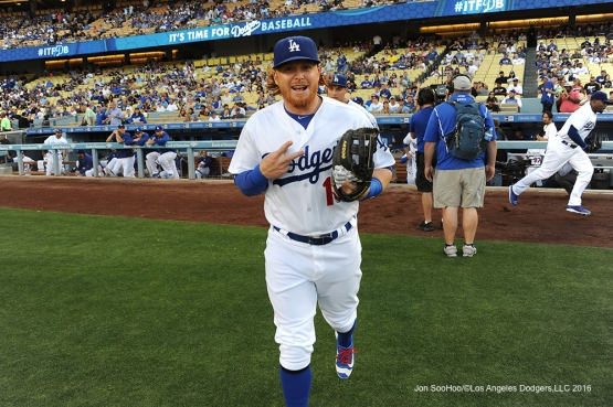 Los Angeles Dodgers Justin Turner takes the field prior to game against the Atlanta Braves Friday, June 3, 2016 at Dodger Stadium in Los Angeles,California. Photo by Jon SooHoo/© Los Angeles Dodgers,LLC 2016