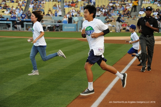 Los Angeles Dodgers Kids Take the Field prior to game against the Atlanta Braves Friday, June 3, 2016 at Dodger Stadium in Los Angeles,California. Photo by Jon SooHoo/© Los Angeles Dodgers,LLC 2016