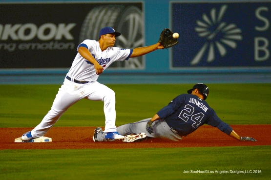 Los Angeles Dodgers Corey Seager gets the out against the Atlanta Braves Friday, June 3, 2016 at Dodger Stadium in Los Angeles,California. Photo by Jon SooHoo/© Los Angeles Dodgers,LLC 2016