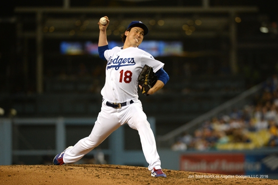Los Angeles Dodgers Kenta Maeda pitches against the Atlanta Braves Friday, June 3, 2016 at Dodger Stadium in Los Angeles,California. Photo by Jon SooHoo/© Los Angeles Dodgers,LLC 2016