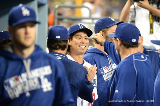 Los Angeles Dodgers Kenta Maeda comes into the dugout during game against the Atlanta Braves Friday, June 3, 2016 at Dodger Stadium in Los Angeles,California. Photo by Jon SooHoo/© Los Angeles Dodgers,LLC 2016
