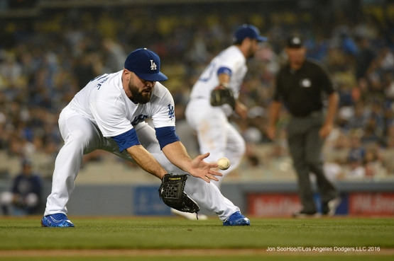 Los Angeles Dodgers Adam Liberatore fields ball against the Atlanta Braves Friday, June 3, 2016 at Dodger Stadium in Los Angeles,California. Photo by Jon SooHoo/© Los Angeles Dodgers,LLC 2016