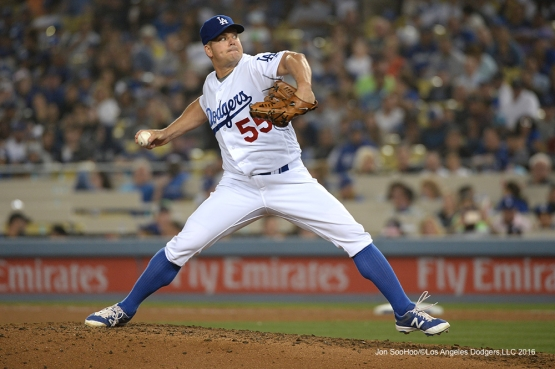 Los Angeles Dodgers Joe Blanton pitches against the Atlanta Braves Friday, June 3, 2016 at Dodger Stadium in Los Angeles,California. Photo by Jon SooHoo/© Los Angeles Dodgers,LLC 2016
