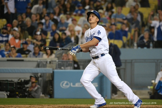 Los Angeles Dodgers Corey Seager hits his third home run against the Atlanta Braves Friday, June 3, 2016 at Dodger Stadium in Los Angeles,California. Photo by Jon SooHoo/© Los Angeles Dodgers,LLC 2016