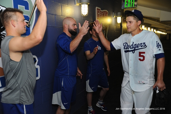 Los Angeles Dodgers Corey Seager is greeted in the clubhouse after win against the Atlanta Braves Friday, June 3, 2016 at Dodger Stadium in Los Angeles,California. Photo by Jon SooHoo/© Los Angeles Dodgers,LLC 2016