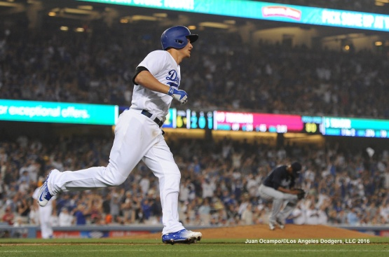 Corey Seager connects for his second home run of the night off Braves starter Julio Teheran.