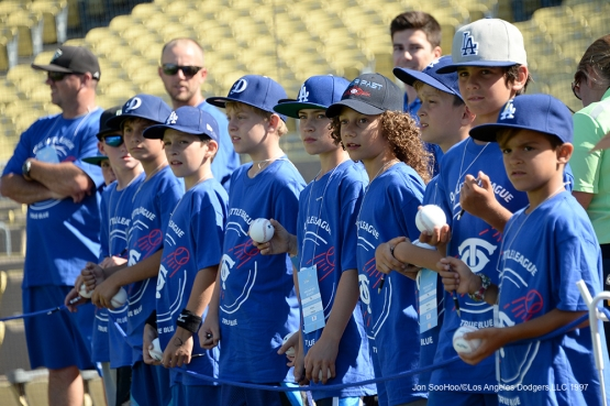 Young Los Angeles Dodgers fans watch batting practice prior to game against the Atlanta Braves Saturday, June 4, 2016 at Dodger Stadium in Los Angeles,California. Photo by Jon SooHoo/© Los Angeles Dodgers,LLC 2016