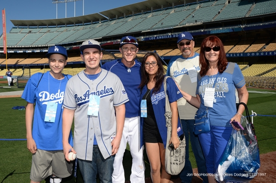 Guests of Chase Utley pose prior to game against the Atlanta Braves Saturday, June 4, 2016 at Dodger Stadium in Los Angeles,California. Photo by Jon SooHoo/© Los Angeles Dodgers,LLC 2016