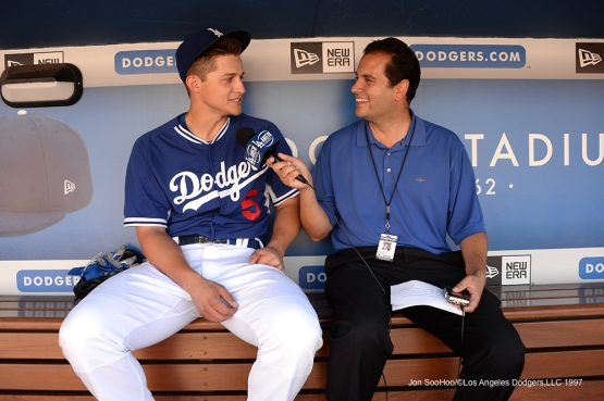 Los Angeles Dodgers Corey Seager is interviewed prior to game against the Atlanta Braves Saturday, June 4, 2016 at Dodger Stadium in Los Angeles,California. Photo by Jon SooHoo/© Los Angeles Dodgers,LLC 2016