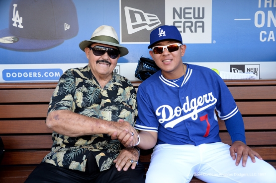Los Angeles Dodgers Julio Urias and Mike Brito pose prior to game against the Atlanta Braves Saturday, June 4, 2016 at Dodger Stadium in Los Angeles,California. Photo by Jon SooHoo/© Los Angeles Dodgers,LLC 2016
