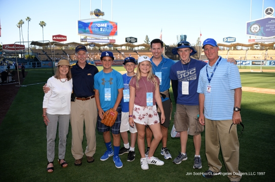 Los Angeles Dodgers Military Hero of the Game, U.S. Navy Lieutenant Commander, Alvin Skiles poses with his family prior to game against the Atlanta Braves Saturday, June 4, 2016 at Dodger Stadium in Los Angeles,California. Photo by Jon SooHoo/© Los Angeles Dodgers,LLC 2016
