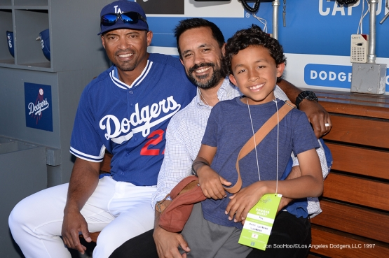 Los Angeles Dodgers George Lombard and family pose prior to game against the Atlanta Braves Saturday, June 4, 2016 at Dodger Stadium in Los Angeles,California. Photo by Jon SooHoo/© Los Angeles Dodgers,LLC 2016