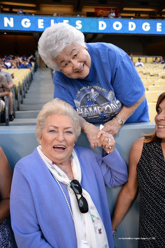 Los Angeles Dodgers Jo Lasorda and Roz Wyman pose prior to game against the Atlanta Braves Saturday, June 4, 2016 at Dodger Stadium in Los Angeles,California. Photo by Jon SooHoo/© Los Angeles Dodgers,LLC 2016