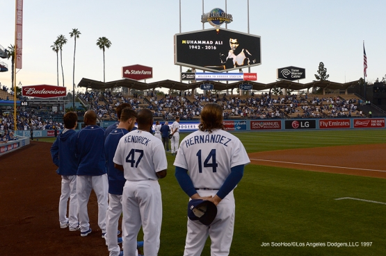 Tribute to Muhammad Ali prior to Los Angeles Dodgers game against the Atlanta Braves Saturday, June 4, 2016 at Dodger Stadium in Los Angeles,California. Photo by Jon SooHoo/© Los Angeles Dodgers,LLC 2016