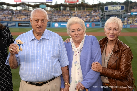 Tommy, Jo and Laura Lasorda pose prior to game against the Atlanta Braves Saturday, June 4, 2016 at Dodger Stadium in Los Angeles,California. Photo by Jon SooHoo/© Los Angeles Dodgers,LLC 2016