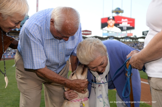 Tommy and Jo Lasorda play with Spunky prior to Los Angeles Dodgers game against the Atlanta Braves Saturday, June 4, 2016 at Dodger Stadium in Los Angeles,California. Photo by Jon SooHoo/© Los Angeles Dodgers,LLC 2016