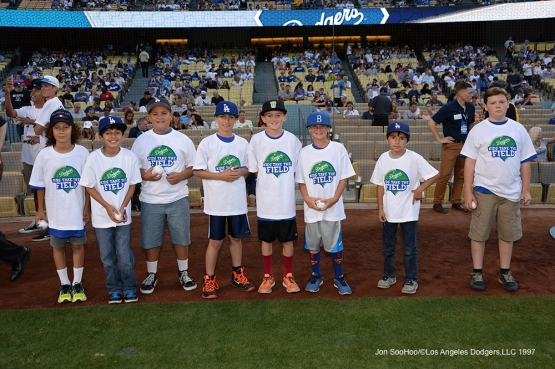 Los Angeles Dodgers Kids Taking the Field pose prior to game against the Atlanta Braves Saturday, June 4, 2016 at Dodger Stadium in Los Angeles,California. Photo by Jon SooHoo/© Los Angeles Dodgers,LLC 2016