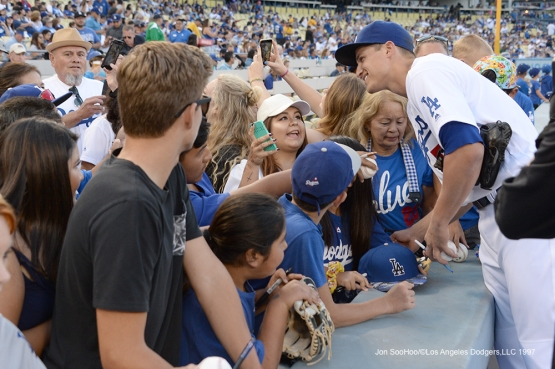 Los Angeles Dodgers Corey Seager poses for fans prior to game against the Atlanta Braves Saturday, June 4, 2016 at Dodger Stadium in Los Angeles,California. Photo by Jon SooHoo/© Los Angeles Dodgers,LLC 2016