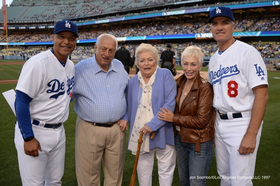 The Lasordas pose with Los Angeles Dodgers Dave Roberts and Bob Geren prior to game against the Atlanta Braves Saturday, June 4, 2016 at Dodger Stadium in Los Angeles,California. Photo by Jon SooHoo/© Los Angeles Dodgers,LLC 2016