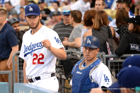 Los Angeles Dodgers Clayton Kershaw takes the field prior to game against the Atlanta Braves Saturday, June 4, 2016 at Dodger Stadium in Los Angeles,California. Photo by Jon SooHoo/© Los Angeles Dodgers,LLC 2016