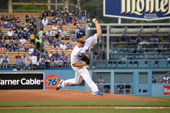 Los Angeles Dodgers Clayton Kershaw pitches  against the Atlanta Braves Saturday, June 4, 2016 at Dodger Stadium in Los Angeles,California. Photo by Jon SooHoo/© Los Angeles Dodgers,LLC 2016
