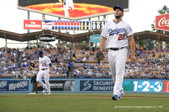 Los Angeles Dodgers Clayton Kershaw gets out for the first inning  during game against the Atlanta Braves Saturday, June 4, 2016 at Dodger Stadium in Los Angeles,California. Photo by Jon SooHoo/© Los Angeles Dodgers,LLC 2016