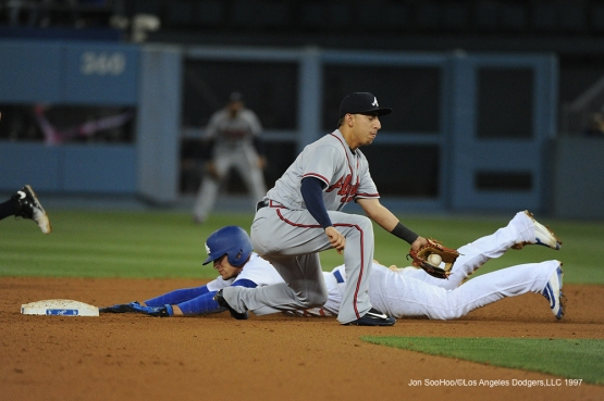 Los Angeles Dodgers Trayce Thompson is safe at home during game against the Atlanta Braves Saturday, June 4, 2016 at Dodger Stadium in Los Angeles,California. Photo by Jon SooHoo/© Los Angeles Dodgers,LLC 2016