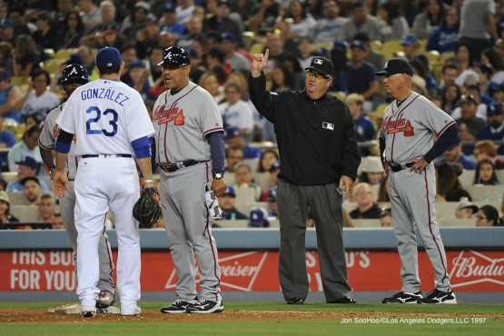 Los Angeles Dodgers figure out Umpire Joe West during game against the Atlanta Braves Saturday, June 4, 2016 at Dodger Stadium in Los Angeles,California. Photo by Jon SooHoo/© Los Angeles Dodgers,LLC 2016
