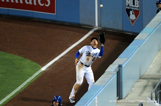 Los Angeles Dodgers Trayce Thompson makes a great catch in the outfield against the Atlanta Braves Saturday, June 4, 2016 at Dodger Stadium in Los Angeles,California. Photo by Jon SooHoo/© Los Angeles Dodgers,LLC 2016