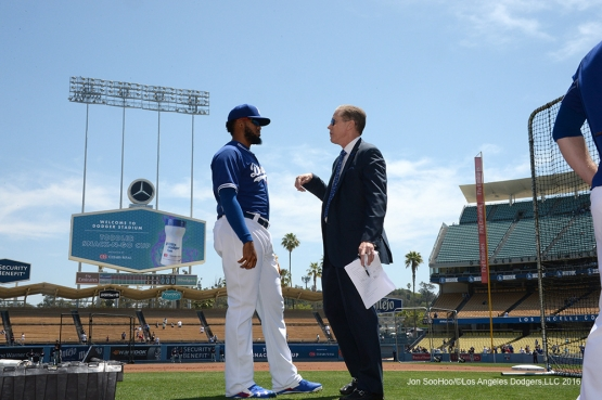 Los Angeles Dodgers Kenley Jansen and Orel Hershiser talk prior to game against the Atlanta Braves Sunday, June 5, 2016 at Dodger Stadium in Los Angeles,California. Photo by Jon SooHoo/© Los Angeles Dodgers,LLC 2016