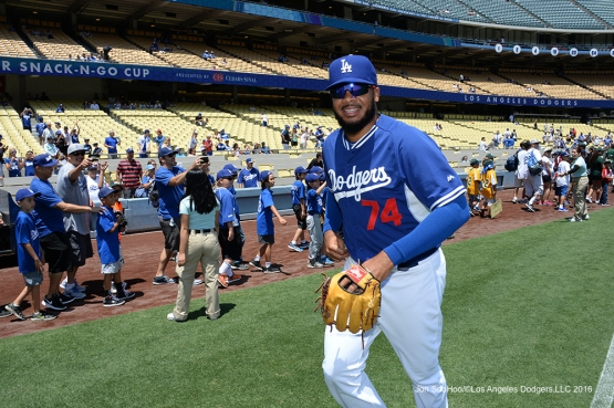 Los Angeles Dodgers Kenley Jansen smiles during little league parade prior to game against the Atlanta Braves Sunday, June 5, 2016 at Dodger Stadium in Los Angeles,California. Photo by Jon SooHoo/© Los Angeles Dodgers,LLC 2016