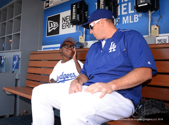 Joey Green hangs out with Los Angeles Dodgers A.J. Ellis prior to game against the Atlanta Braves Sunday, June 5, 2016 at Dodger Stadium in Los Angeles,California. Photo by Jon SooHoo/© Los Angeles Dodgers,LLC 2016