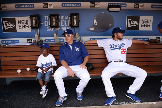 Joey Green hangs out with Los Angeles Dodgers A.J. Ellis and Clayton Kershaw prior to game against the Atlanta Braves Sunday, June 5, 2016 at Dodger Stadium in Los Angeles,California. Photo by Jon SooHoo/© Los Angeles Dodgers,LLC 2016