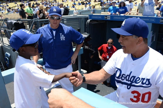 Joey Green meets Dave Roberts prior to game against the Atlanta Braves Sunday, June 5, 2016 at Dodger Stadium in Los Angeles,California. Photo by Jon SooHoo/© Los Angeles Dodgers,LLC 2016