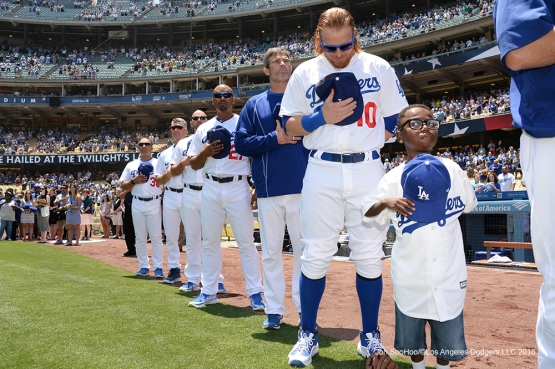Joey Green hangs out with Los Angeles Dodgers for the national anthem prior to game against the Atlanta Braves Sunday, June 5, 2016 at Dodger Stadium in Los Angeles,California. Photo by Jon SooHoo/© Los Angeles Dodgers,LLC 2016