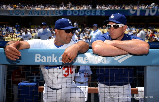 Los Angeles Dodgers Dave Roberts and A.J. Ellis talk prior to game against the Atlanta Braves Sunday, June 5, 2016 at Dodger Stadium in Los Angeles,California. Photo by Jon SooHoo/© Los Angeles Dodgers,LLC 2016