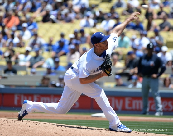 Los Angeles Dodgers Scott Kazmir pitches against the Atlanta Braves Sunday, June 5, 2016 at Dodger Stadium in Los Angeles,California. Photo by Jon SooHoo/© Los Angeles Dodgers,LLC 2016