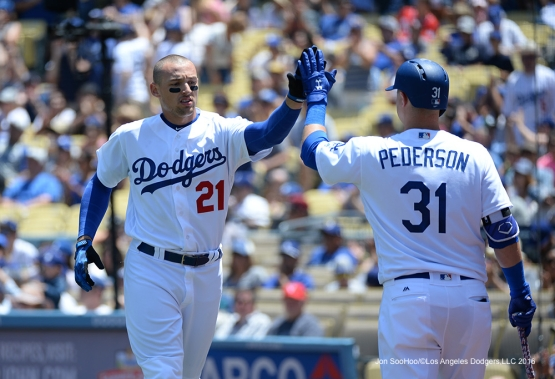 Los Angeles Dodgers Trayce Thompson scores against the Atlanta Braves Sunday, June 5, 2016 at Dodger Stadium in Los Angeles,California. Photo by Jon SooHoo/© Los Angeles Dodgers,LLC 2016