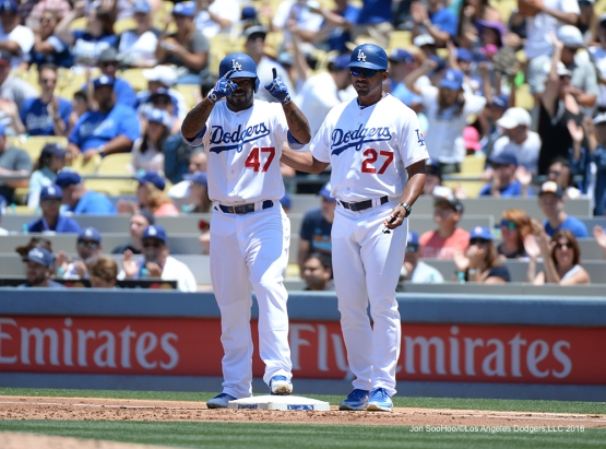 Los Angeles Dodgers Howie Kendrick singles against the Atlanta Braves Sunday, June 5, 2016 at Dodger Stadium in Los Angeles,California. Photo by Jon SooHoo/© Los Angeles Dodgers,LLC 2016
