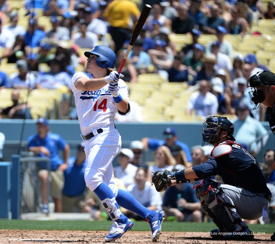 Los Angeles Dodgers Kike Hernandez homers against the Atlanta Braves Sunday, June 5, 2016 at Dodger Stadium in Los Angeles,California. Photo by Jon SooHoo/© Los Angeles Dodgers,LLC 2016