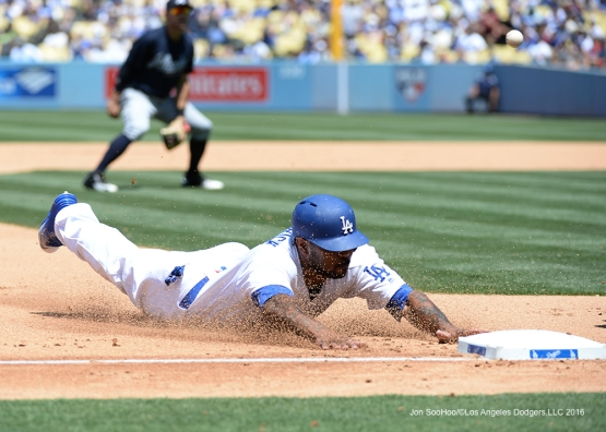 Los Angeles Dodgers Howie Kendrick dives safely to third against the Atlanta Braves Sunday, June 5, 2016 at Dodger Stadium in Los Angeles,California. Photo by Jon SooHoo/© Los Angeles Dodgers,LLC 2016