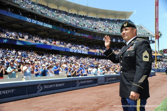 Los Angeles Dodgers Military Hero of the game US Army Master Sergeant, David Nolan waves to the crowd during game against the Atlanta Braves Sunday, June 5, 2016 at Dodger Stadium in Los Angeles,California. Photo by Jon SooHoo/© Los Angeles Dodgers,LLC 2016