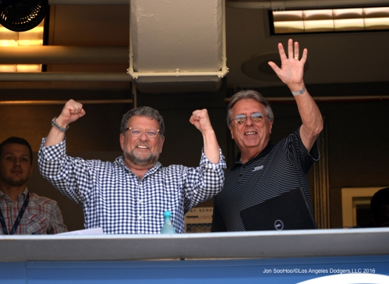 Los Angeles Dodgers Charley Steiner and Rick Monday in the booth during game against the Atlanta Braves Sunday, June 5, 2016 at Dodger Stadium in Los Angeles,California. Photo by Jon SooHoo/© Los Angeles Dodgers,LLC 2016
