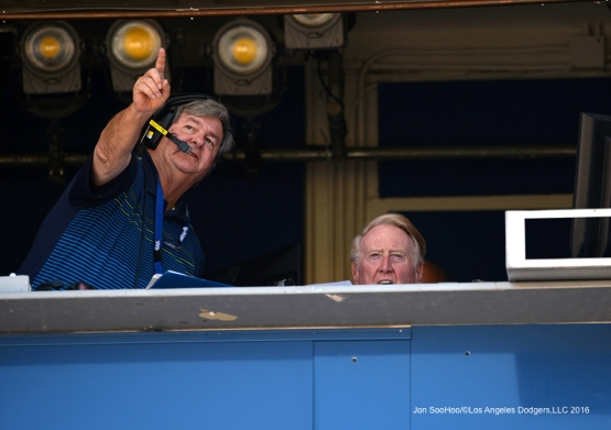 Los Angeles Dodgers Vin Scully and Boyd Robertson during game against the Atlanta Braves Sunday, June 5, 2016 at Dodger Stadium in Los Angeles,California. Photo by Jon SooHoo/© Los Angeles Dodgers,LLC 2016