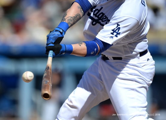 Los Angeles Dodgers Yasmani Grandal makes contact against the Atlanta Braves Sunday, June 5, 2016 at Dodger Stadium in Los Angeles,California. Photo by Jon SooHoo/© Los Angeles Dodgers,LLC 2016