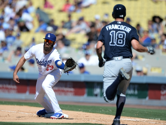 Los Angeles Dodgers Scott Van Slyke at first base against the Atlanta Braves Sunday, June 5, 2016 at Dodger Stadium in Los Angeles,California. Photo by Jon SooHoo/© Los Angeles Dodgers,LLC 2016