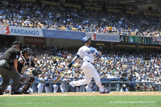 Los Angeles Dodgers  Yasmani Grandal homers against the Atlanta Braves Sunday, June 5, 2016 at Dodger Stadium in Los Angeles,California. Photo by Jon SooHoo/© Los Angeles Dodgers,LLC 2016