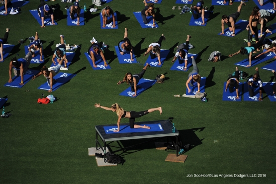 Los Angeles Dodgers Yoga Day after game against the Atlanta Braves Sunday, June 5, 2016 at Dodger Stadium in Los Angeles,California. Photo by Jon SooHoo/© Los Angeles Dodgers,LLC 2016