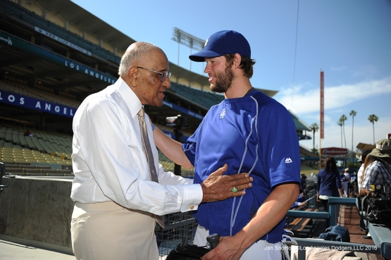 Don Newcombe and Clayton Kershaw talk prior to game against the Colorado Rockies Monday, June 6, 2016 at Dodger Stadium in Los Angeles,California. Photo by Jon SooHoo/© Los Angeles Dodgers,LLC 2016