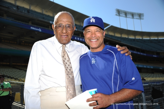 Los Angeles Dodgers Don Newcombe and Dave Roberts pose prior to game against the Colorado Rockies Monday, June 6, 2016 at Dodger Stadium in Los Angeles,California. Photo by Jon SooHoo/© Los Angeles Dodgers,LLC 2016